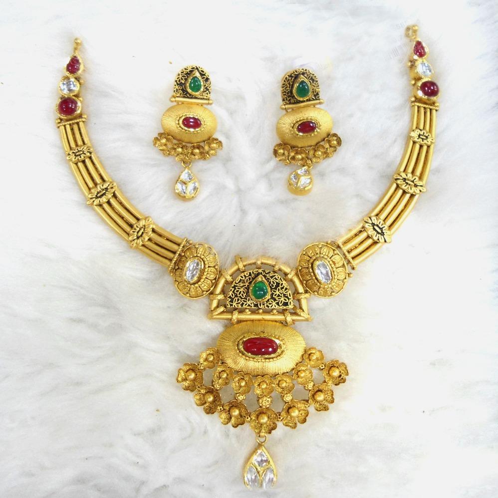 916 Gold Antique Wedding Necklace Set RHJ-5588
