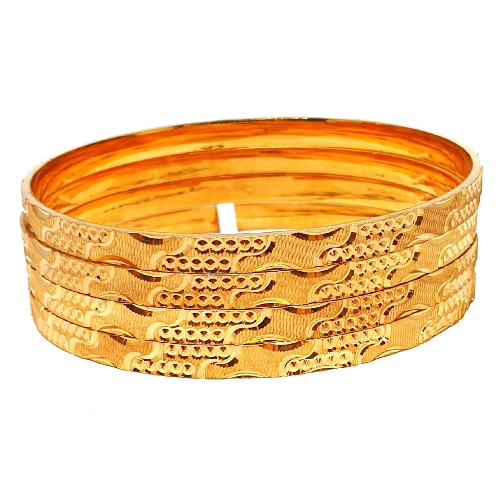 One gram gold forming 4 piece plain bangles mga - bge0335