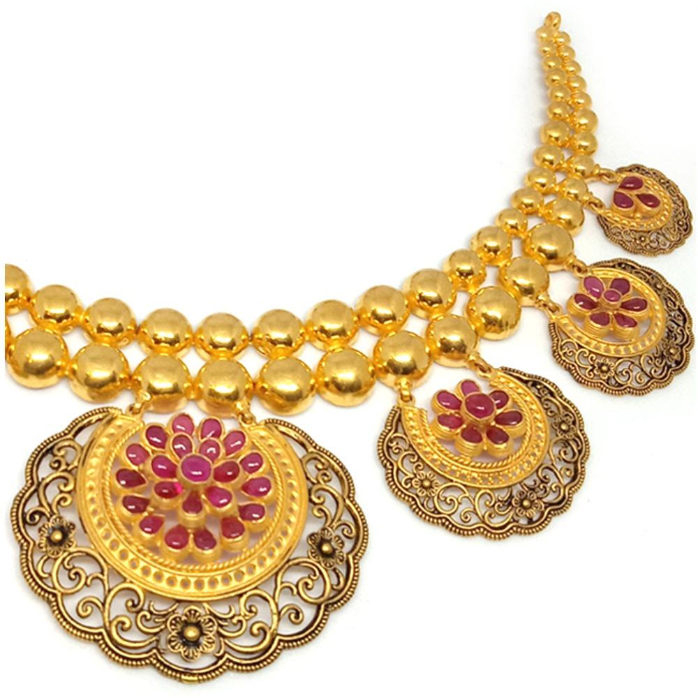 22KT Bridal Gold Antique Necklace Set - LJ-1