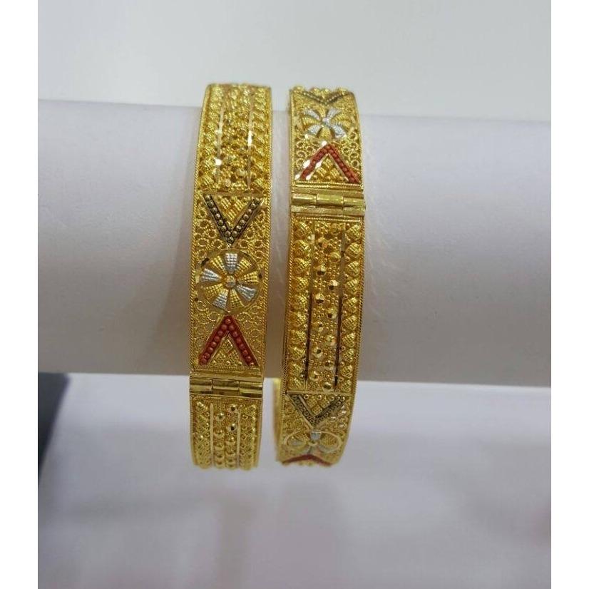 22Kt Gold Designer 2Pc Kada Bangle RH-B004