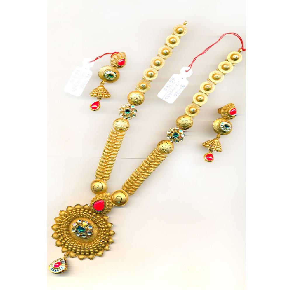 22KT Gold Fancy Red Stone Long-Bridal Necklace Set-23