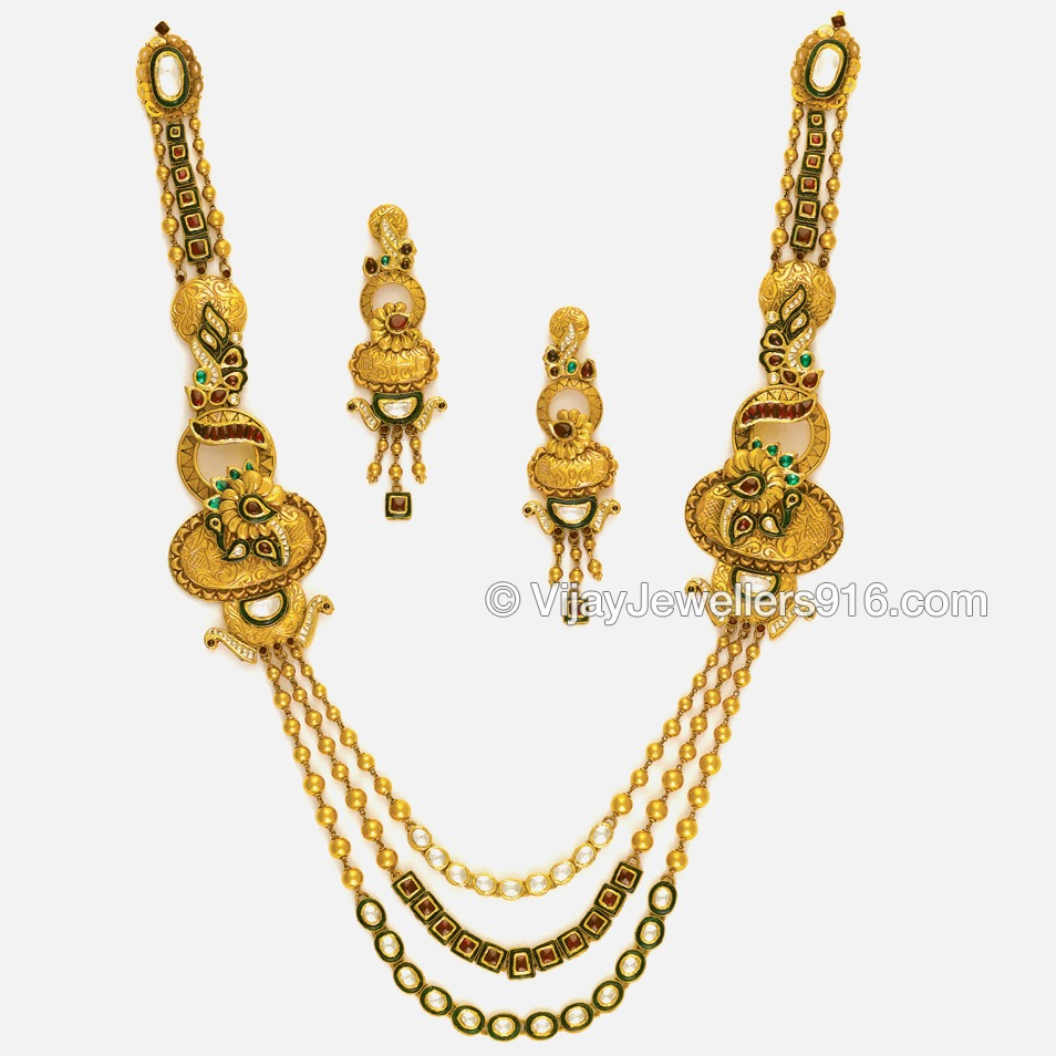 22K Gold Attractive Layered Chain Necklace Set