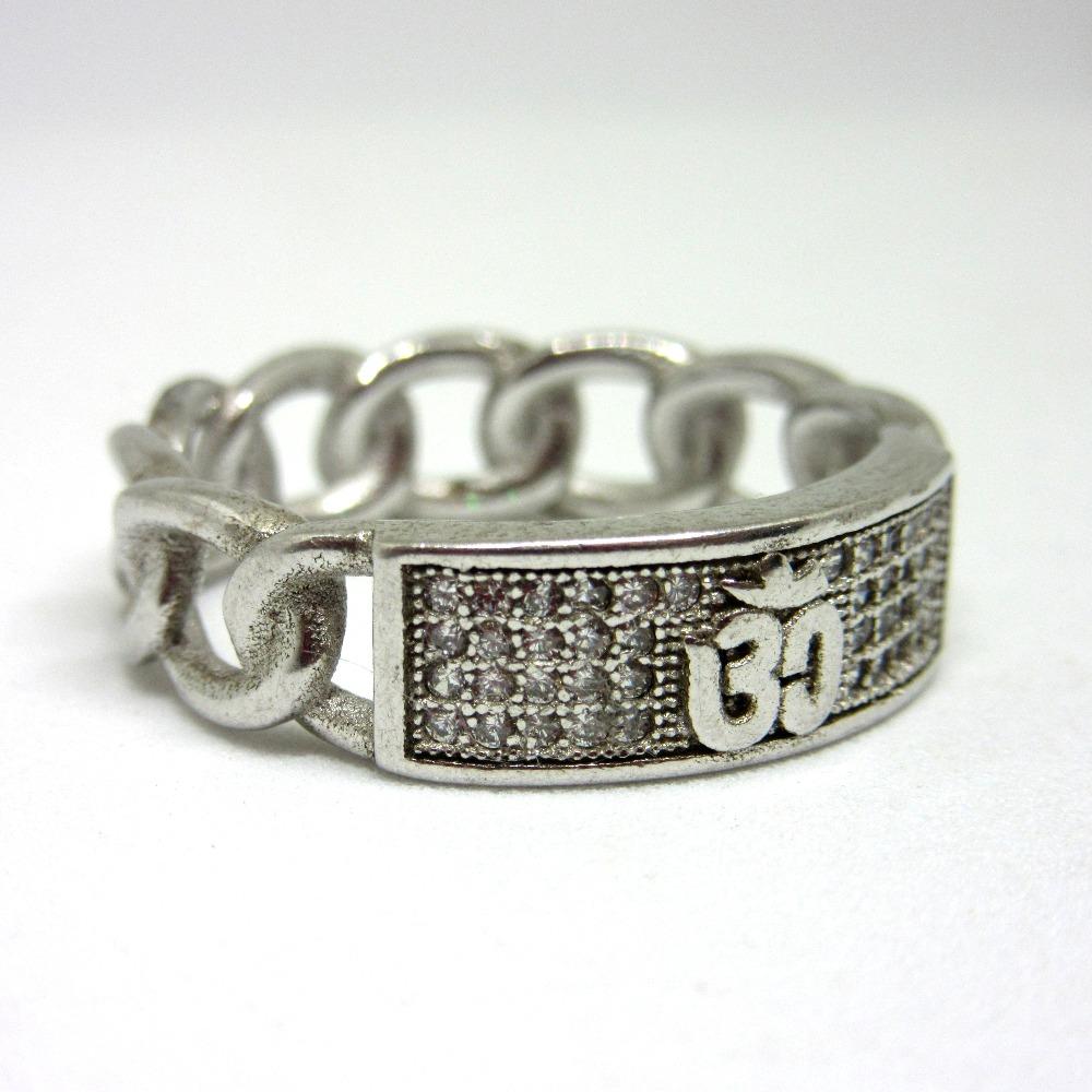 925 silver om logo ring sr925-210