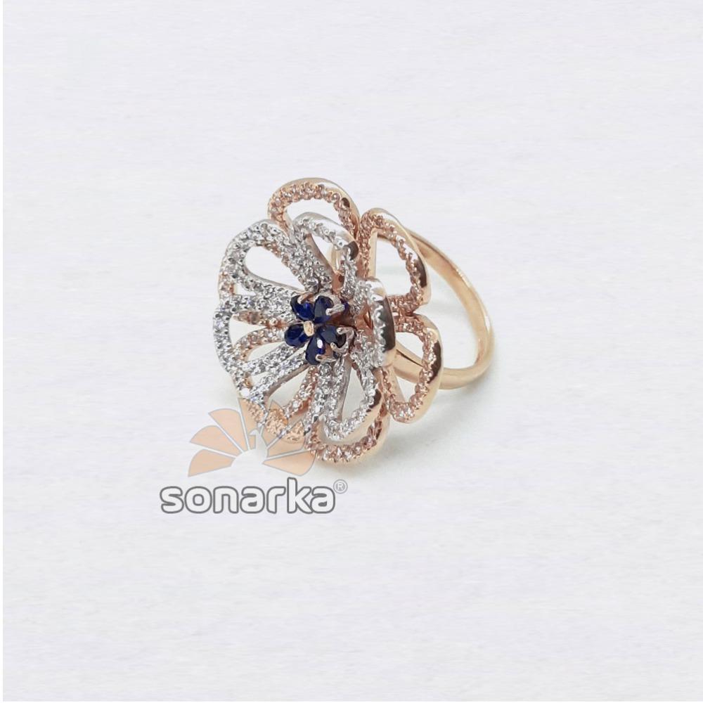 18k Flower Design CZ Rose Gold Ring SK - R001