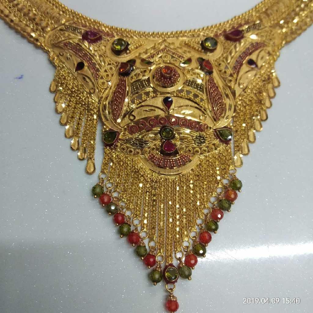 22KT Handmade Gold Bridal Necklace Set 001