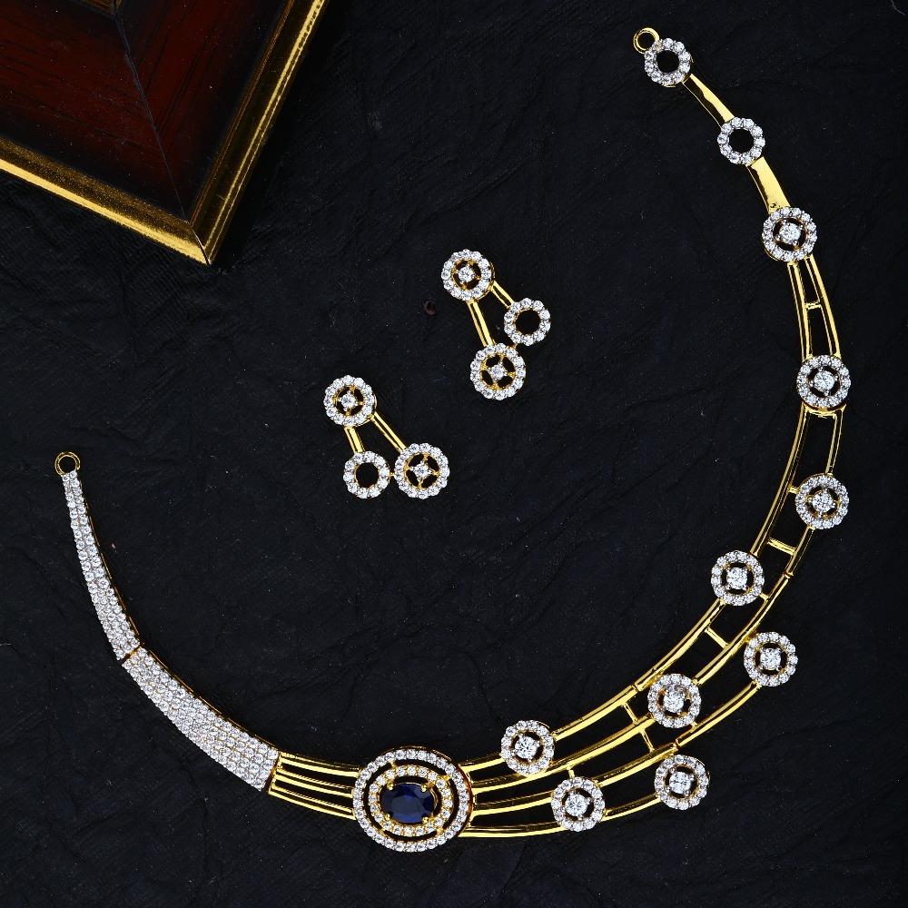 22KT Gold CZ Designer Bridal Necklace Set RJ-N03