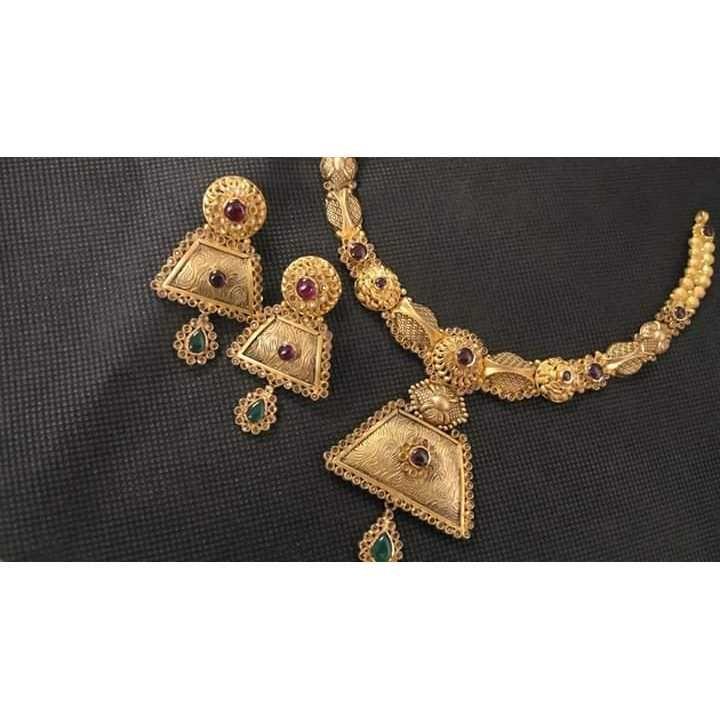 22KT Colored Stone Antique Bridal Necklace Set