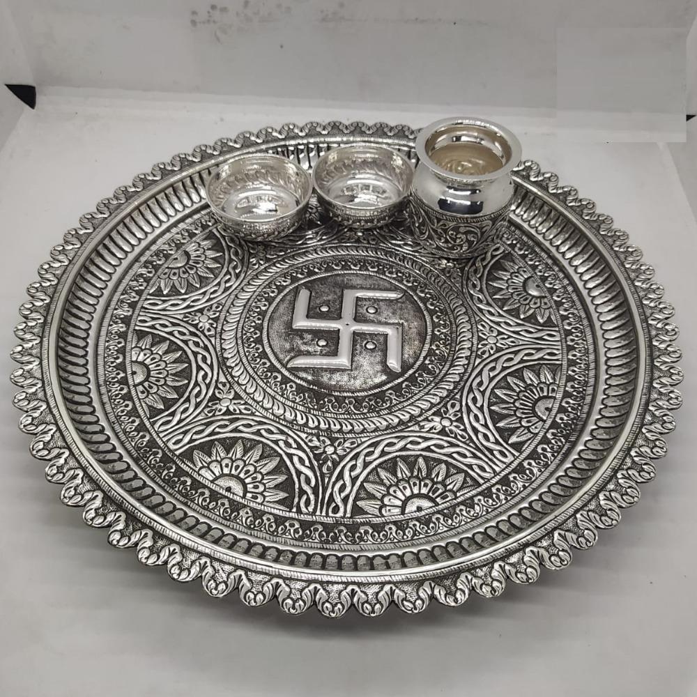 Maanniya real silver pooja thali set in Rangoli Motifs and swastik