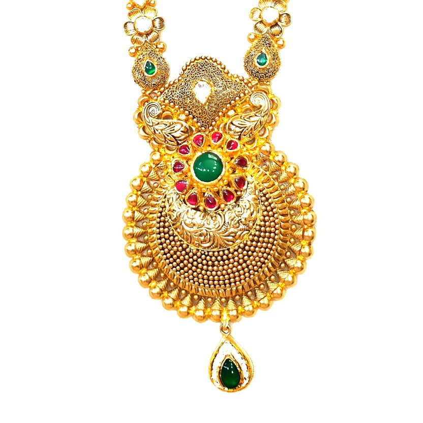 22k Gold Antique Rajwadi Complete Bridal Set MGA - GLS096