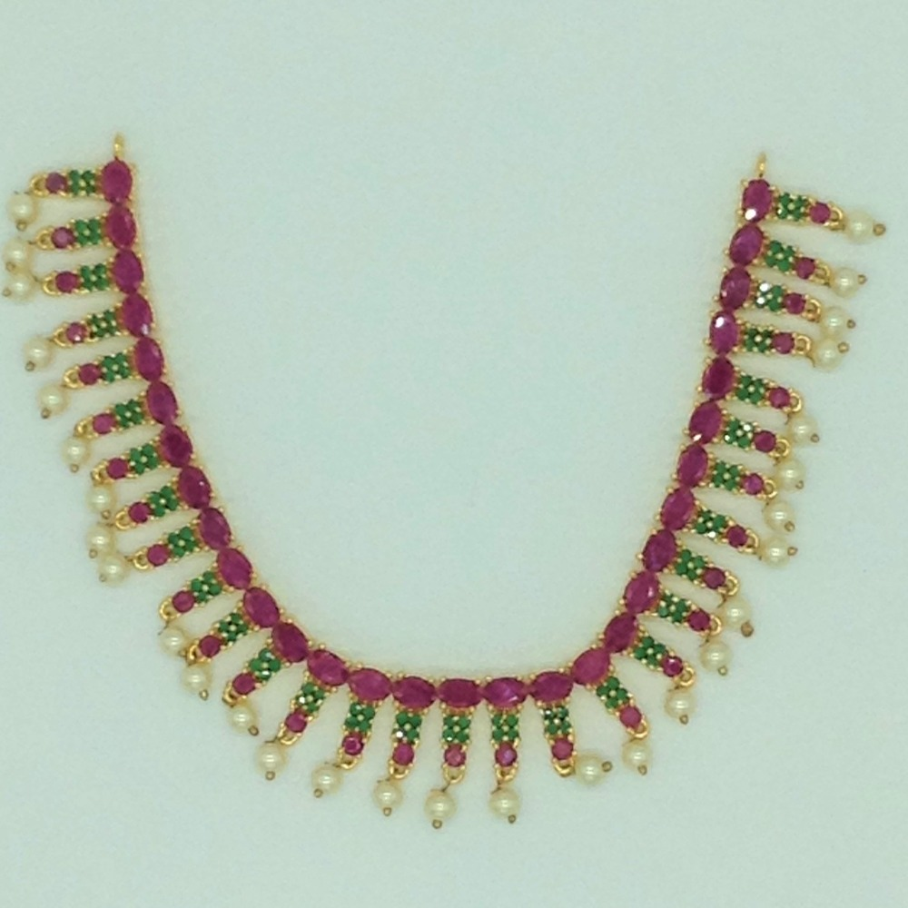 Red,GreenCZ Stones Necklace Set JNC0175