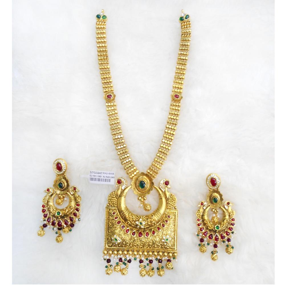 916 Gold Antique Bridal Long Necklace Set RHJ-6005