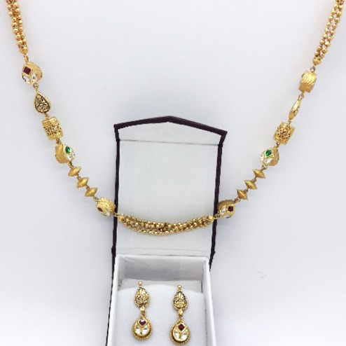22KT Gold Antique Mala With Earring CMJ-N002