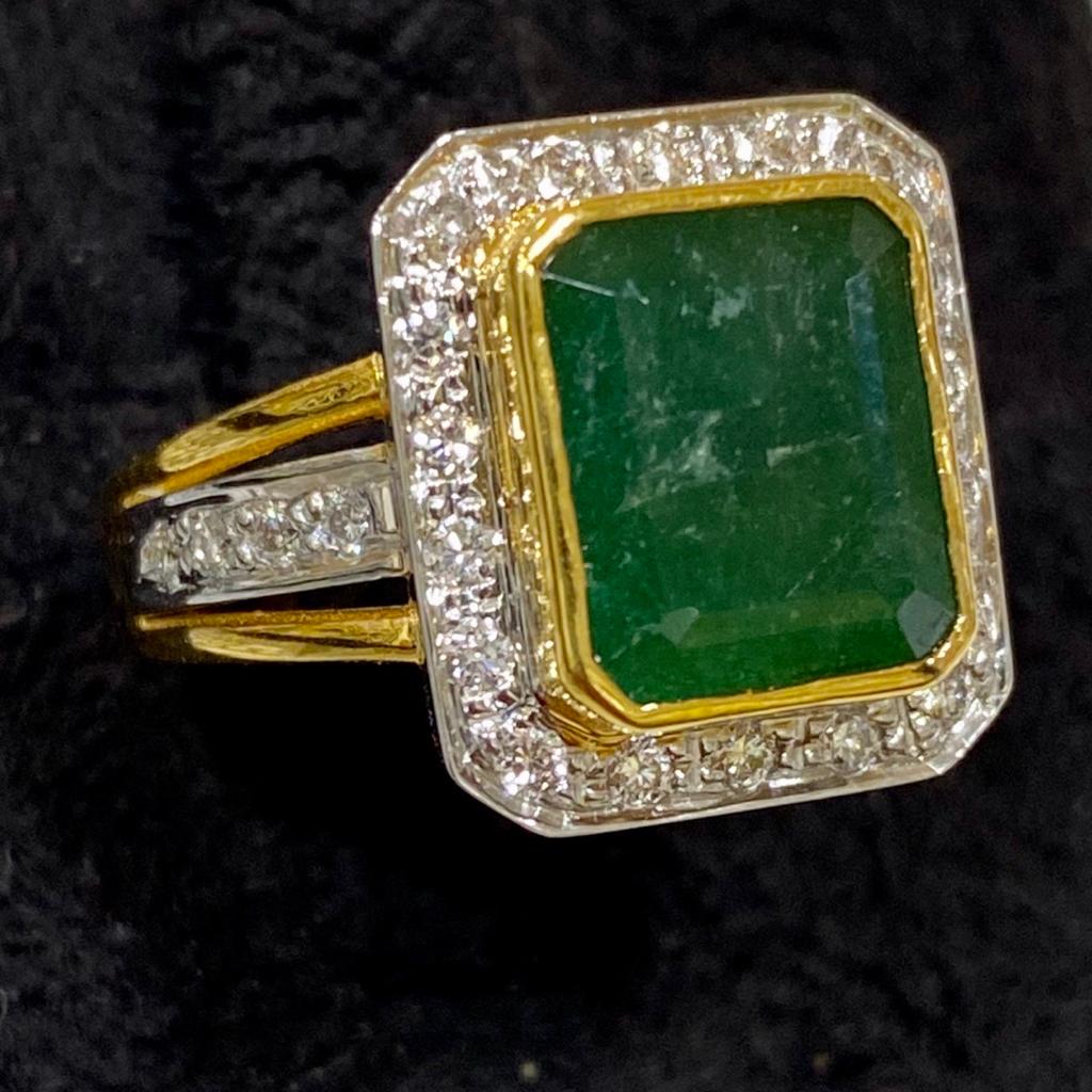 Emerald with Diamond Ring