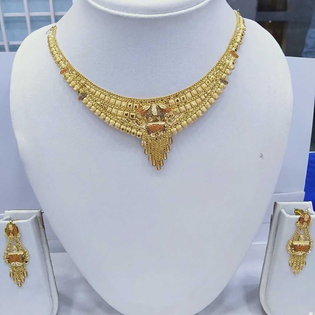 916 Gold Kalkatti Necklace Set Lite Weight RJ-66