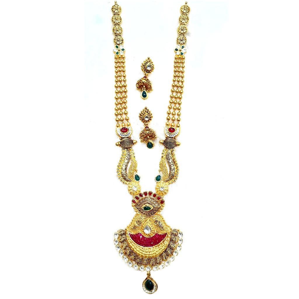 22k gold antique long necklace set mga - gn0055