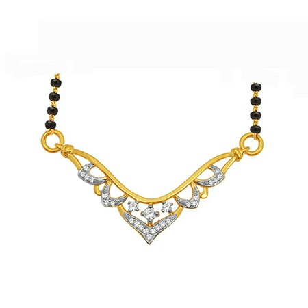 18K Gold Real Diamond Mangalsutra MGA - RMS0014