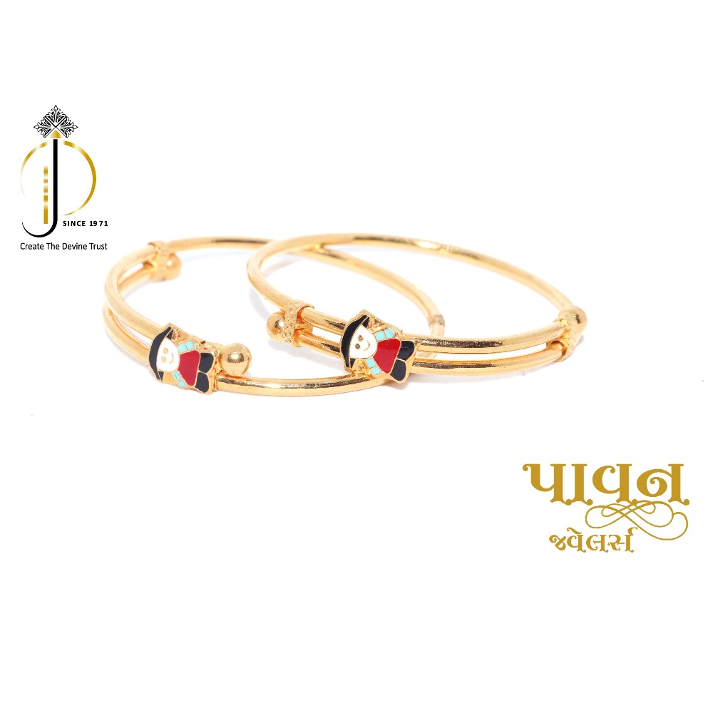 916 / 22ct yellow gold baby hand bangles for little kids BKG0020