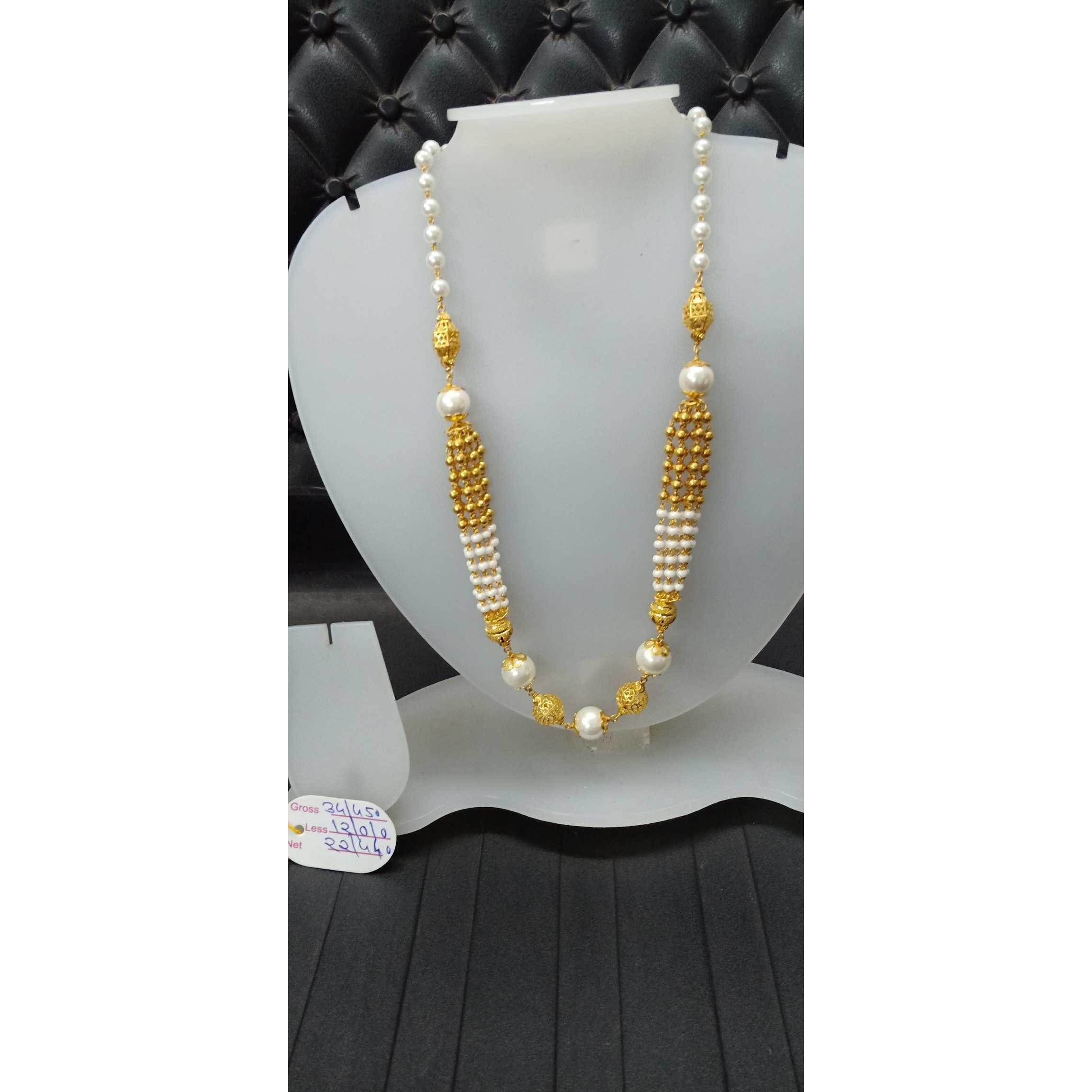 916 Gold Classic White Stone Fancy Mala