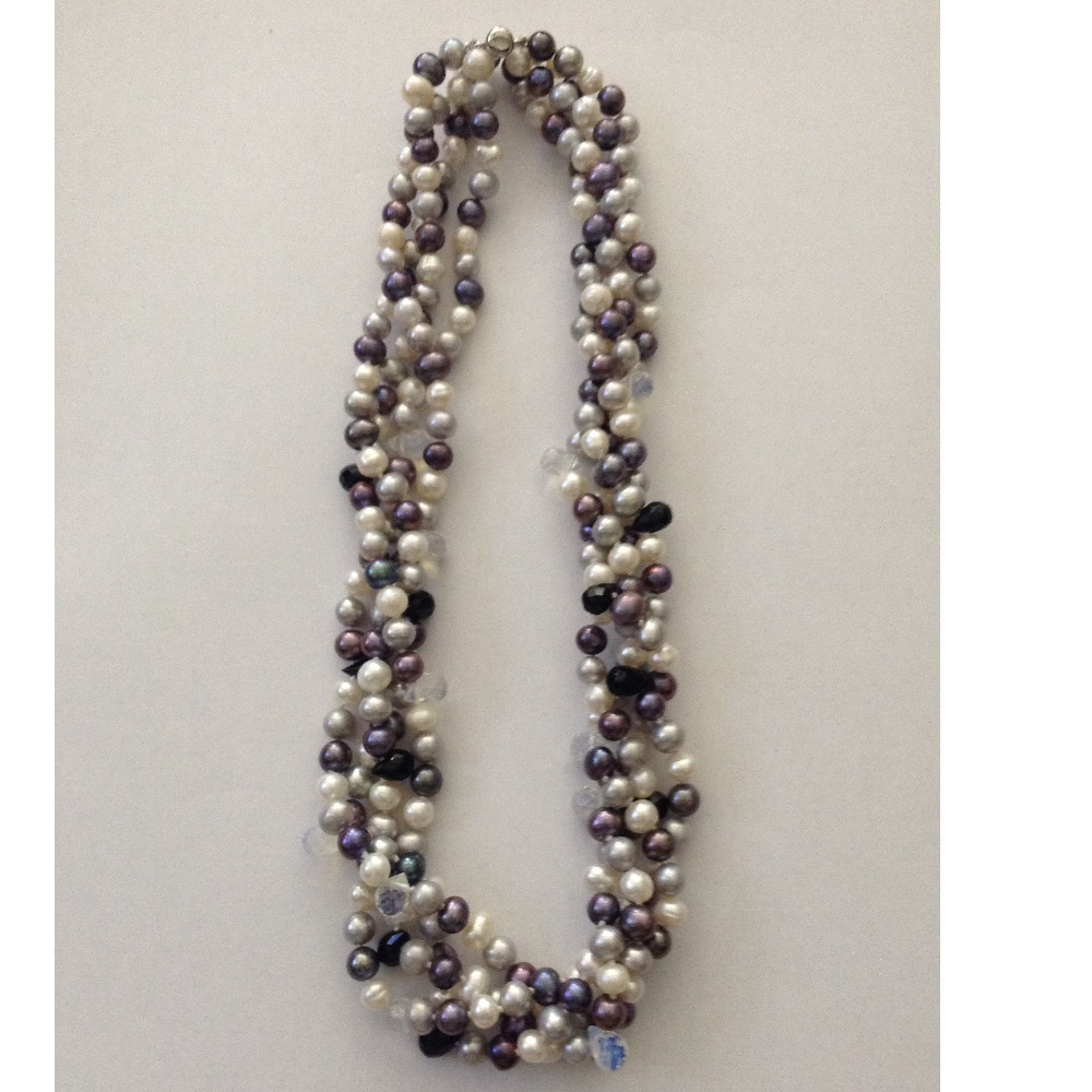Freshwater Multicolour Potato Pearls 4 Layers Necklace with CZ Drops