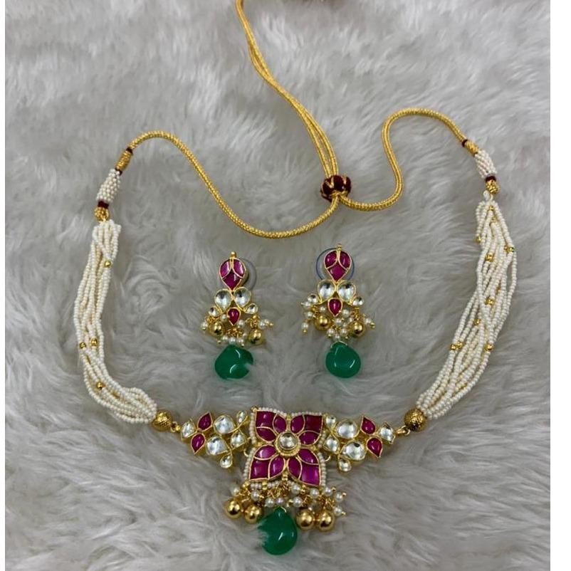 classic white moti rani Artificial  necklace set