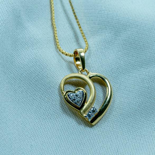 916 Gold Double Heart Pendant P18-567