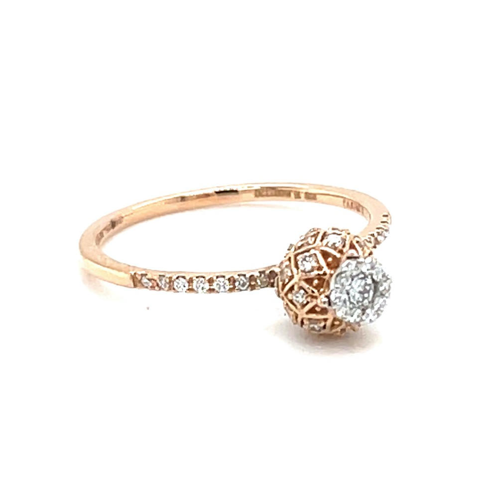 Criss Cross Vase Design ring in 18k Rose Gold - 0LR157