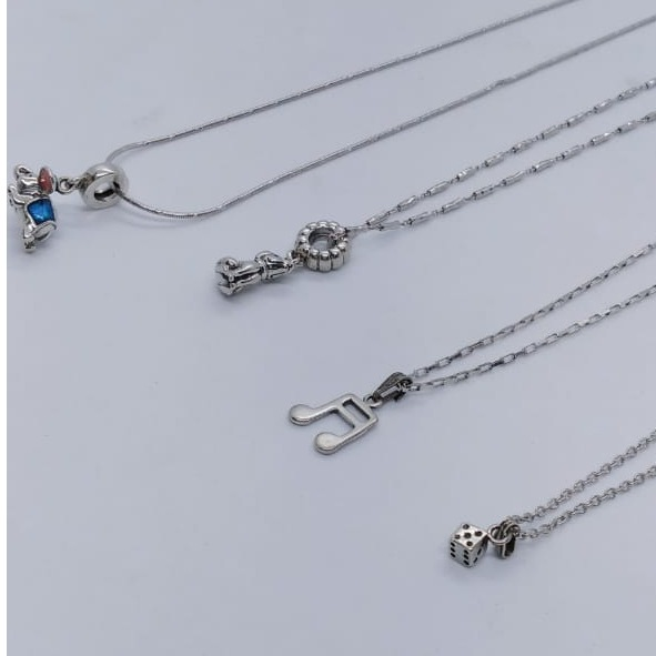 Puran Sterling Silver Rhodium Plated Chain Pendant Set for Girls
