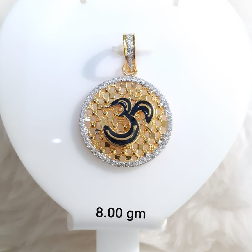 916 Gold CZ Om Design Pendant KG-P01