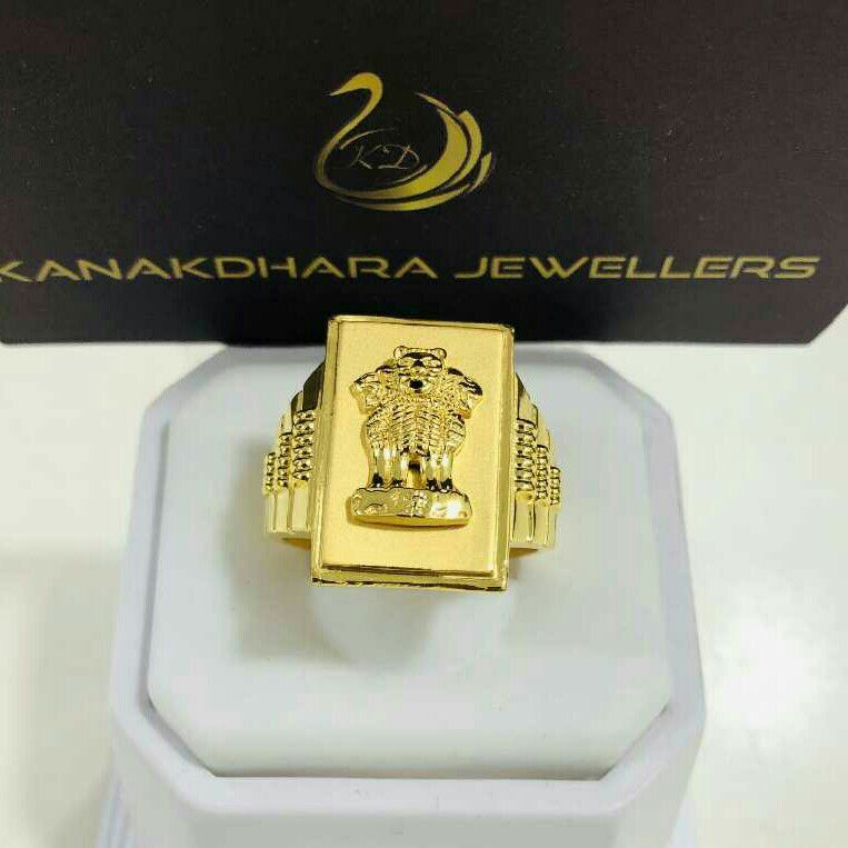 916 Gold Gents Ashok Stambh Heavy Exclusive Ring KDJ- R042