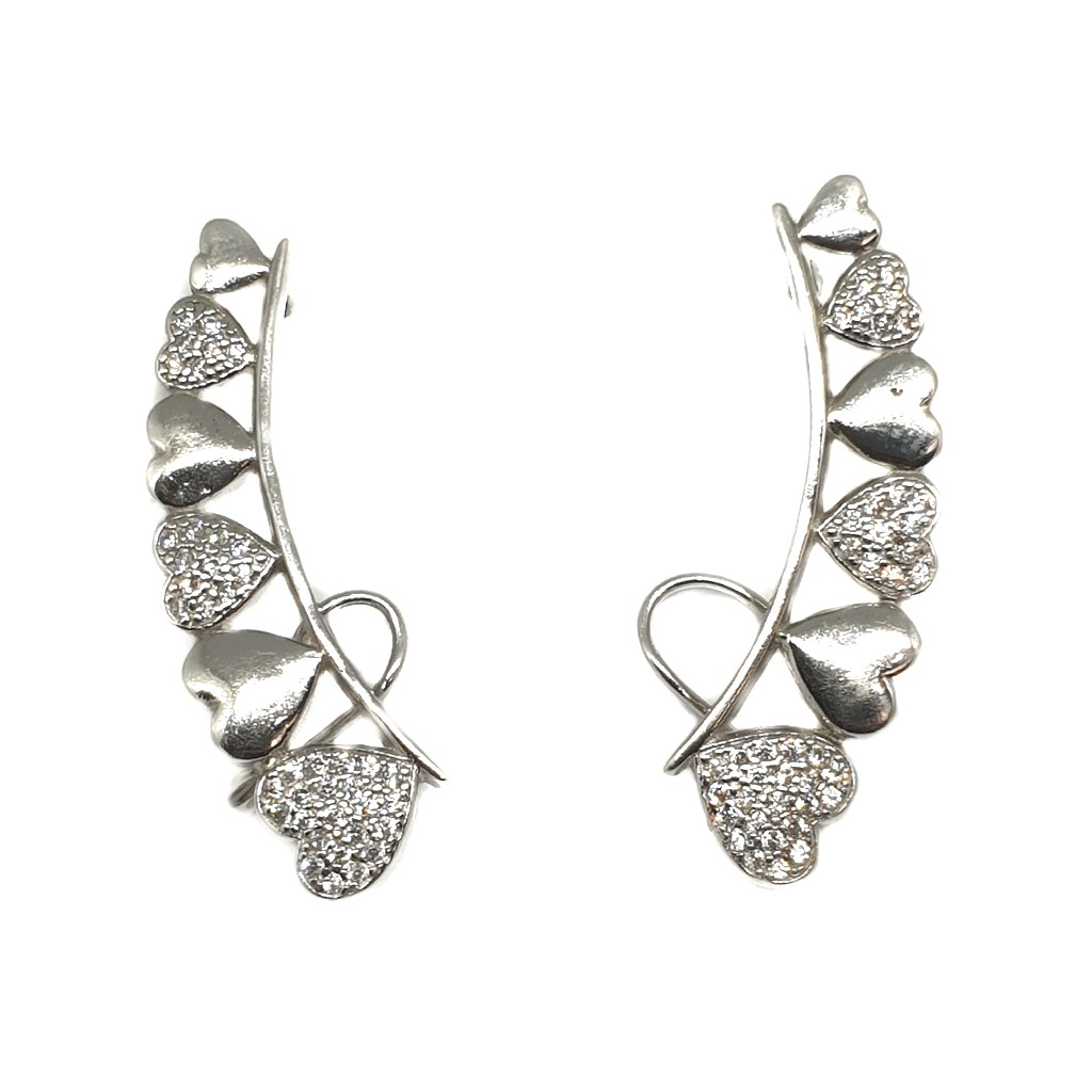 925 Sterling Silver Heart Shaped Ear Cuffs Earring MGA - BTS1701