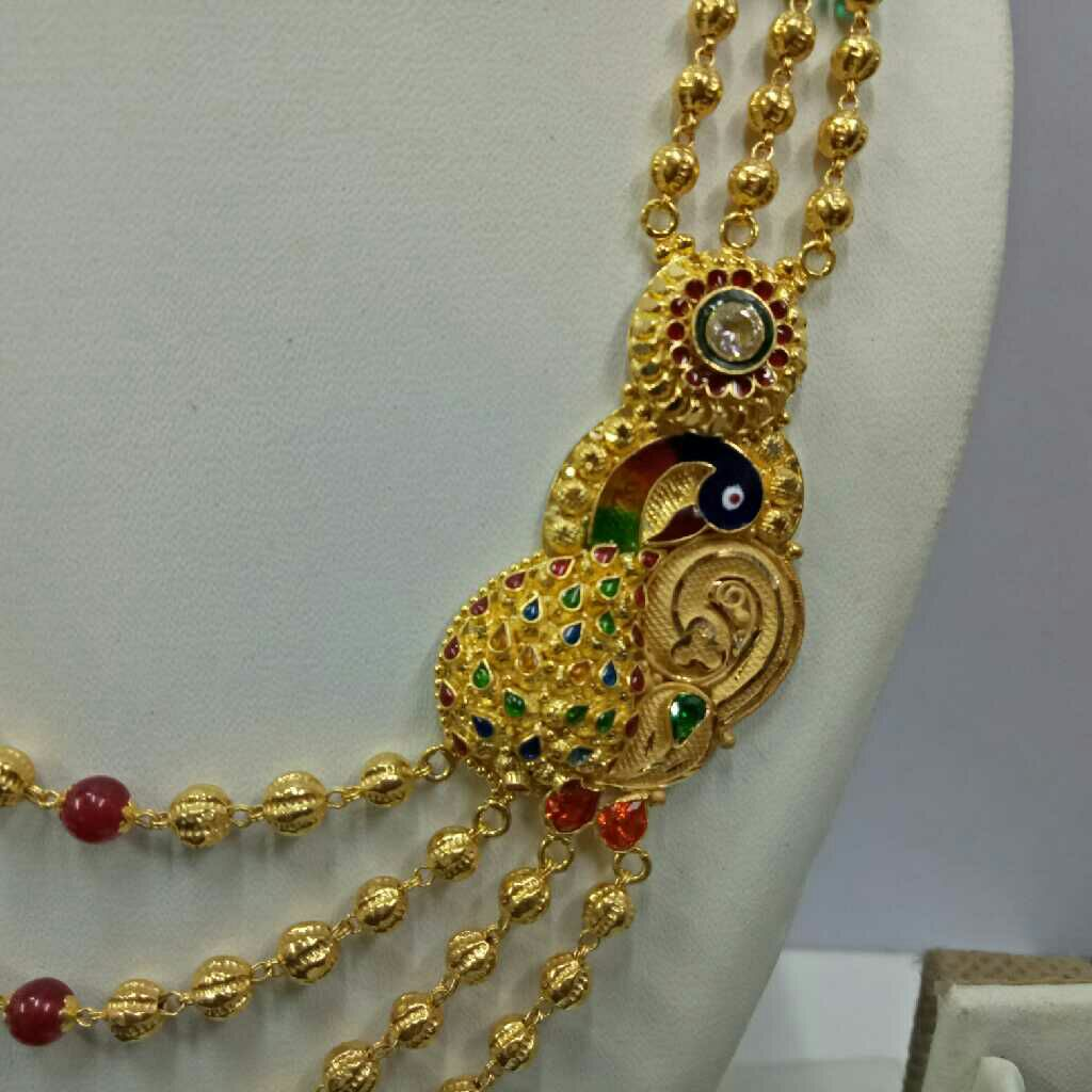 22kt gold peacock design brooch mala