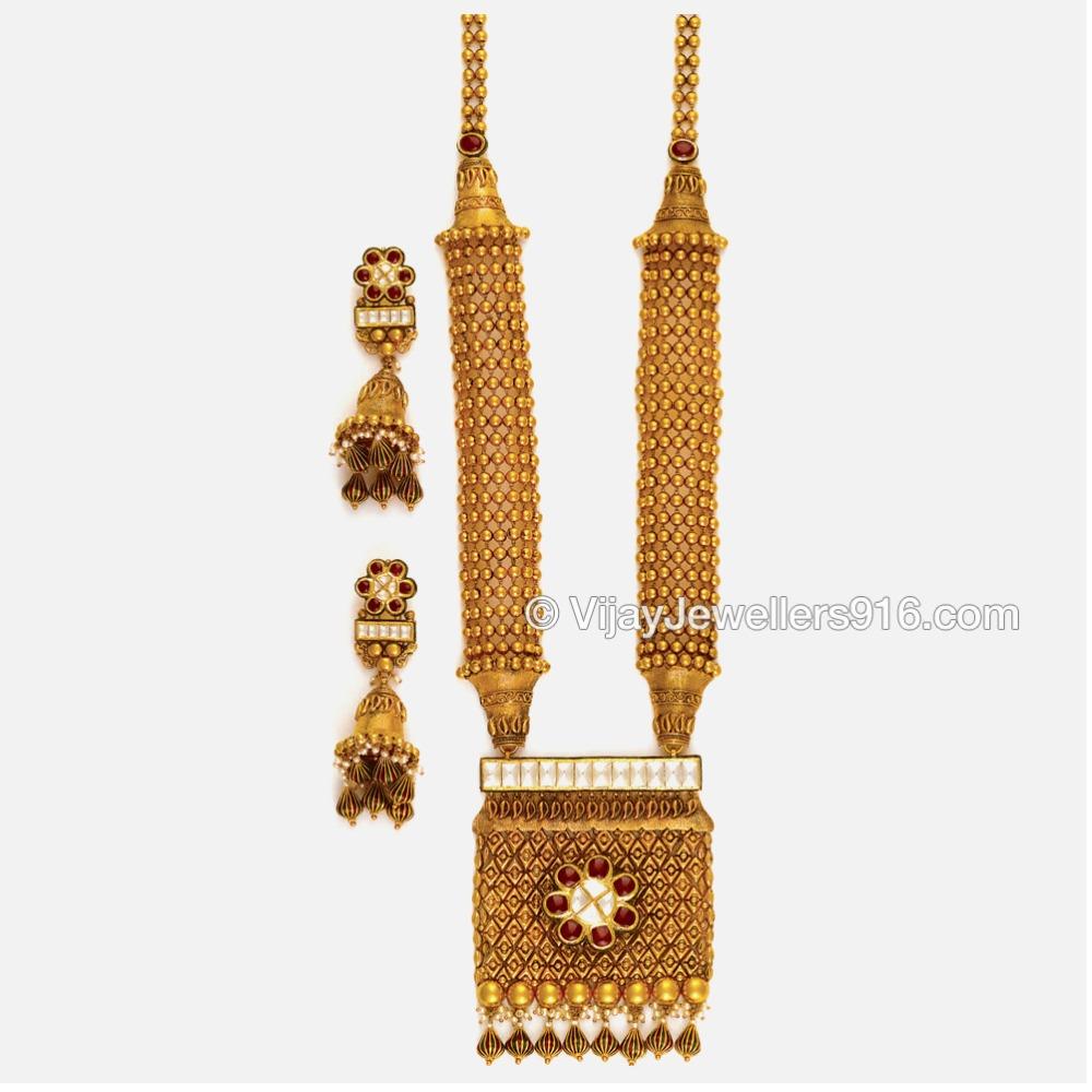 22KT Traditional Gold Bridal Long Necklace Set