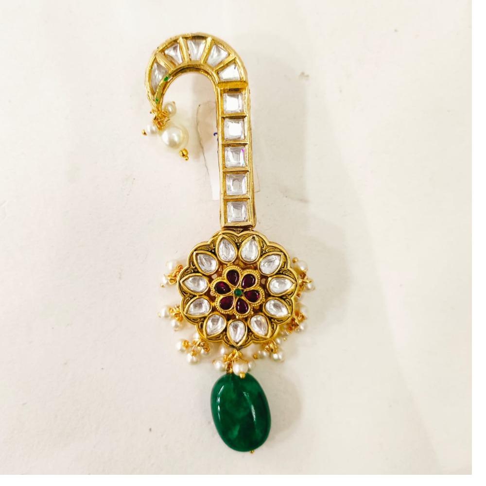 Green emerald hanging bead Kalgi 1373
