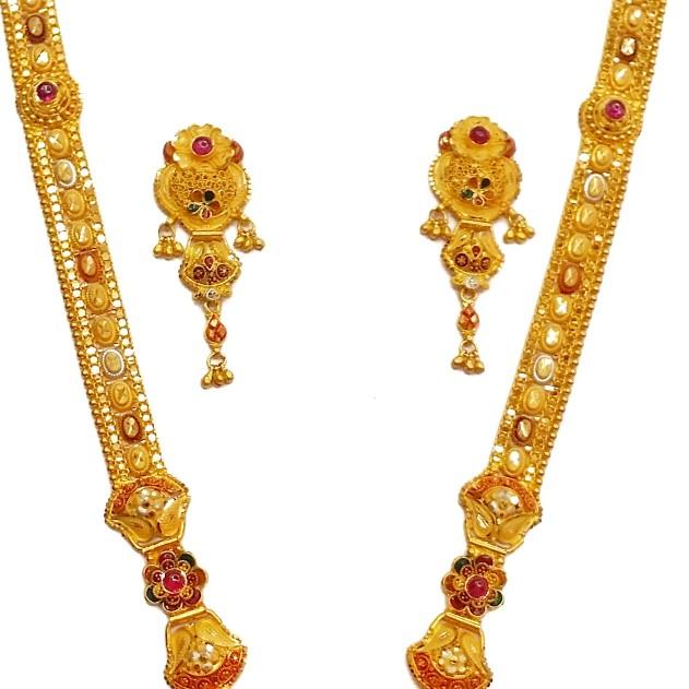 22k Gold Dark Pink Flower Shape Necklace Set MGA -...