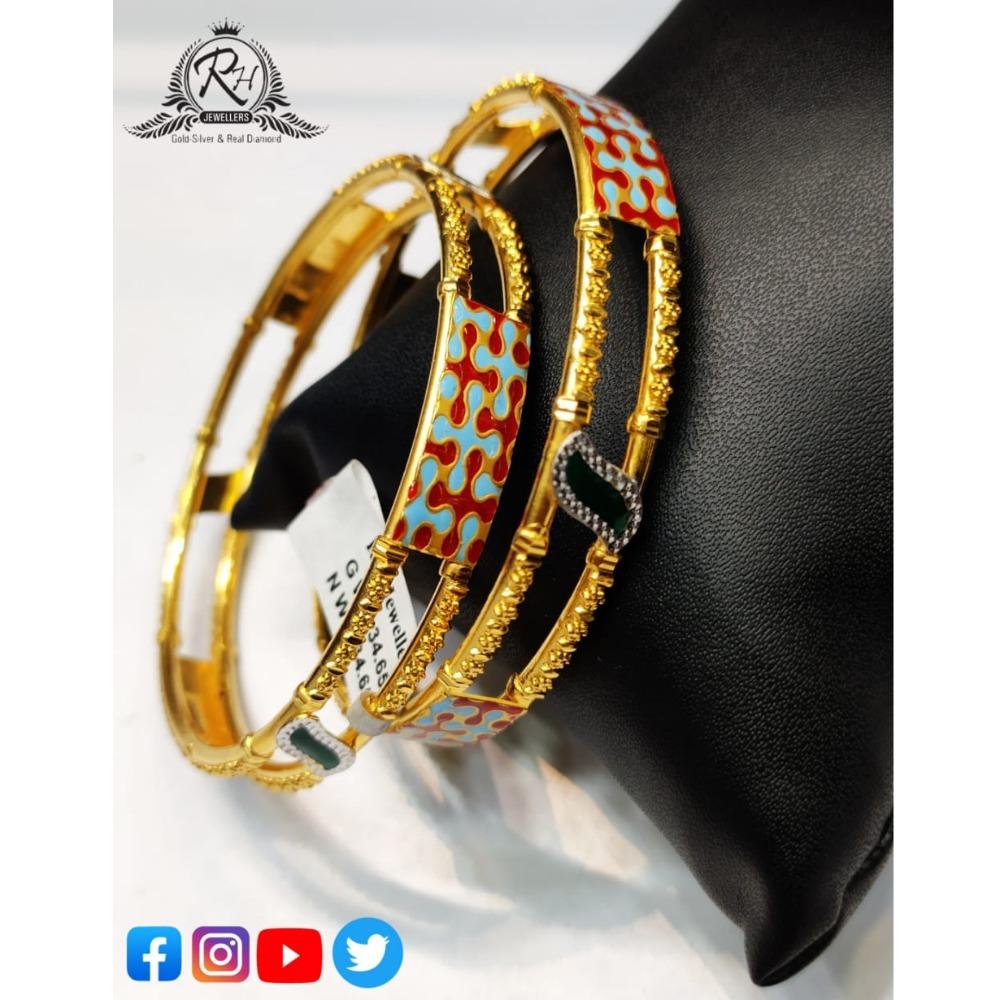 22 carat gold antiq ladies bangles RH-LB538