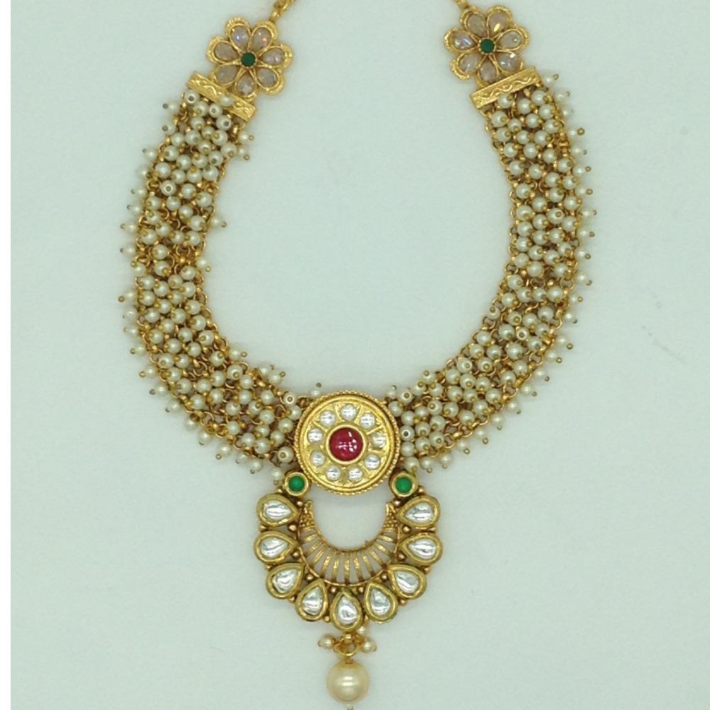 Multicolour Kundan and Pearls Jali NecklaceSetJNC0123