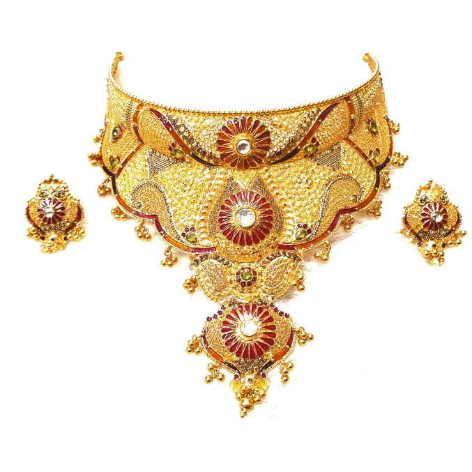 22k Gold Rajwadi Choker Necklace With Earrings MGA - GLS090