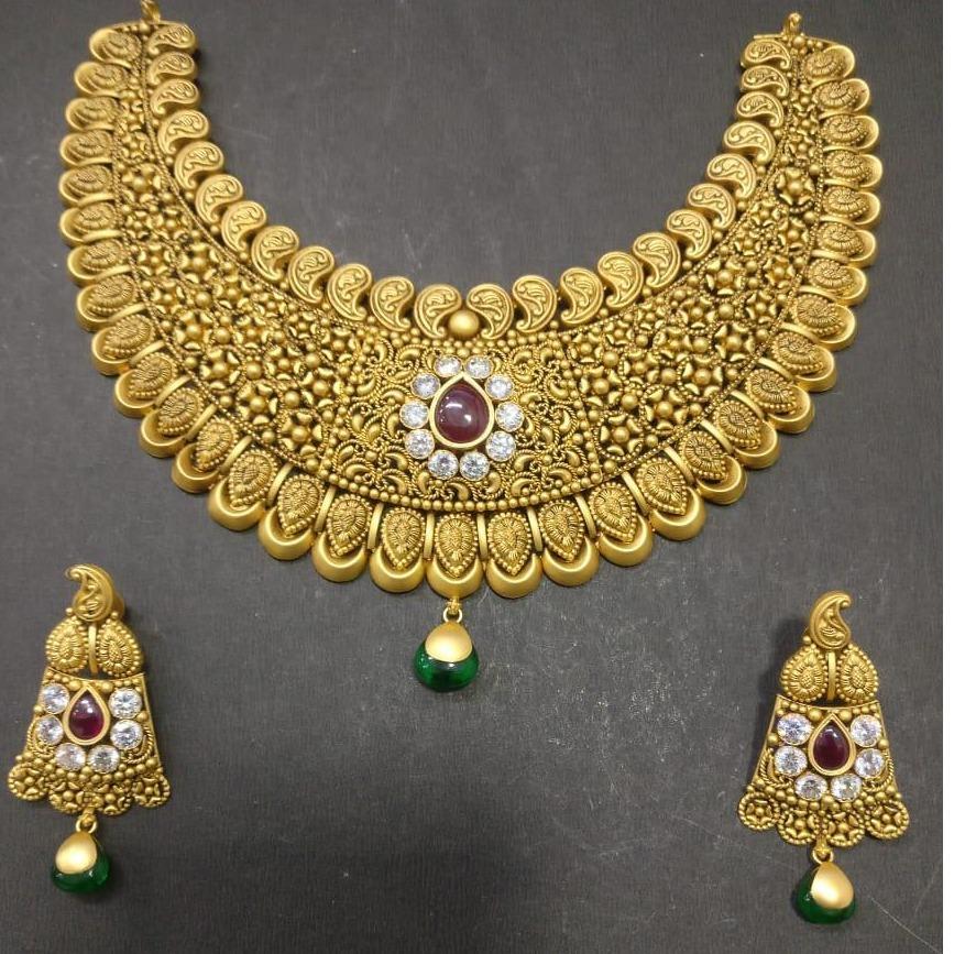916 Gold Designer Bridal Necklace Set KG-N082
