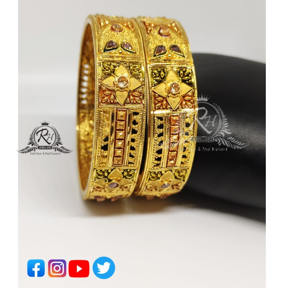 22 carat gold ladies bangles Rh-LB085