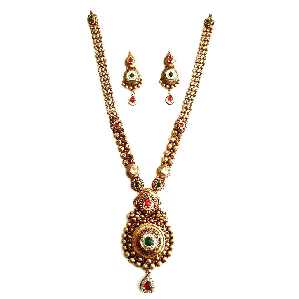 916 gold antique necklace set mga - gn028