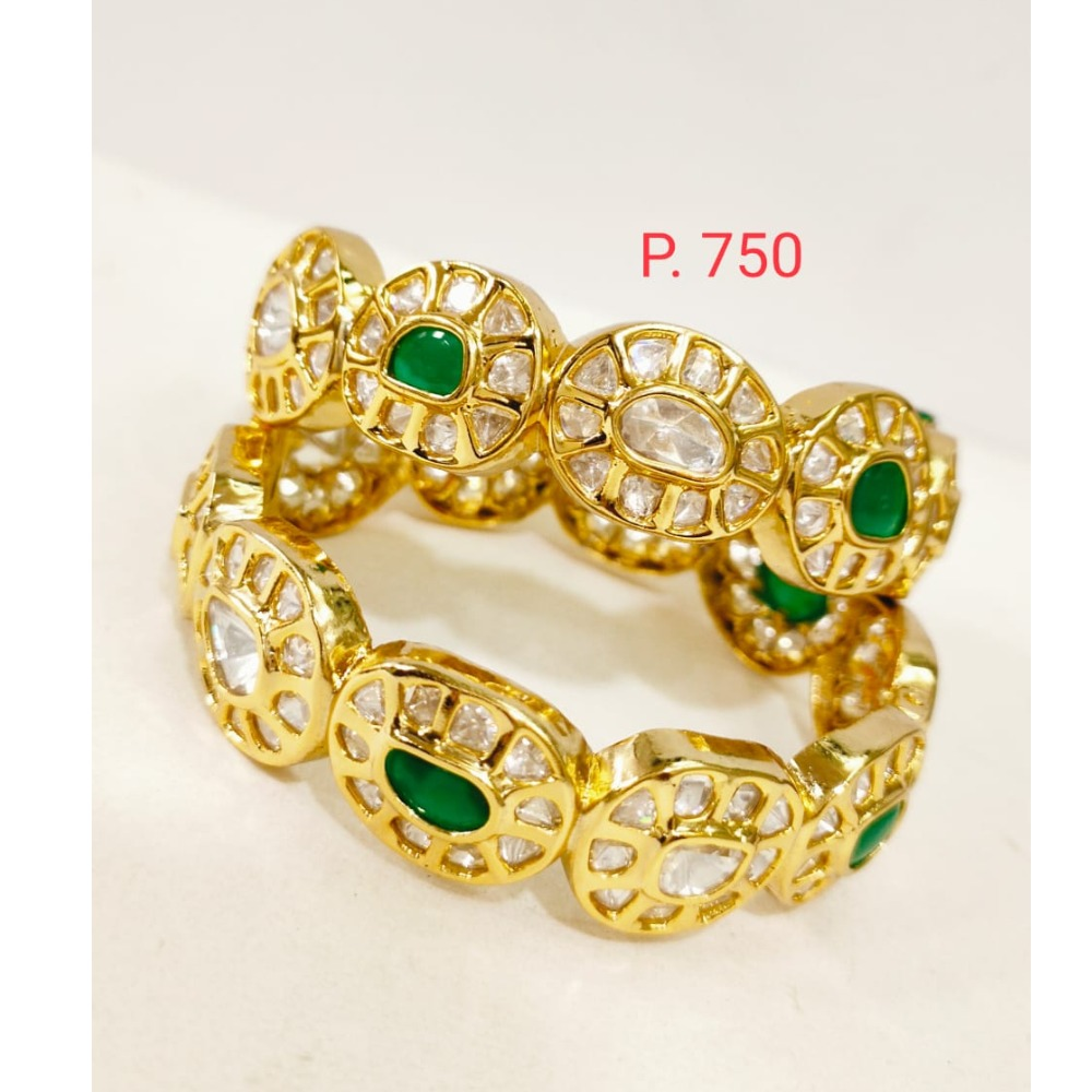 Gold plated kundan work emerald patla 1270
