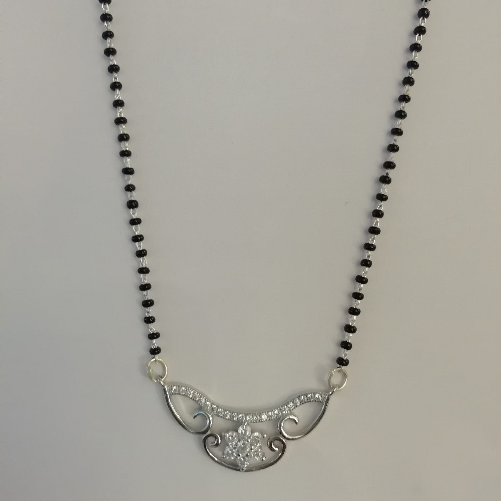 straight silver fancy mangalsutra