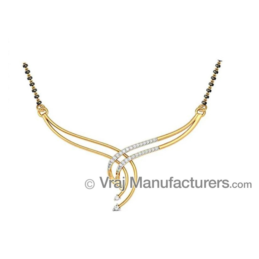 18K Casting Yellow Gold Mangalsutra Fancy Pendant with Diamond