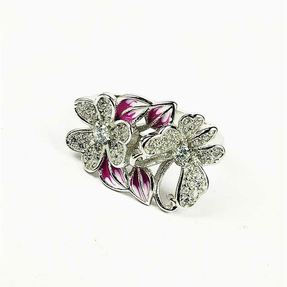 Designer 925 silver ladies rings with two flowers