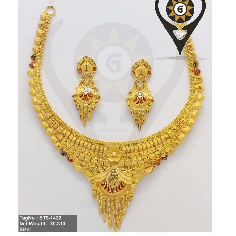 916 gold Latest Design Antique Design Necklace Set