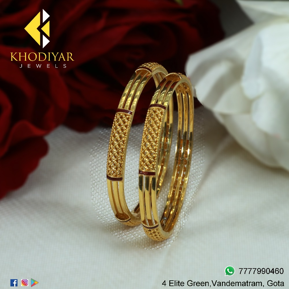 916 Gold Designer Ladies Bangle KJ-B007