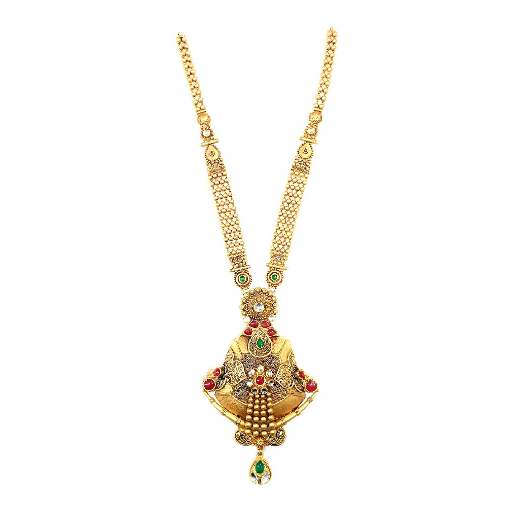 916 gold antique necklace set mga - gn031