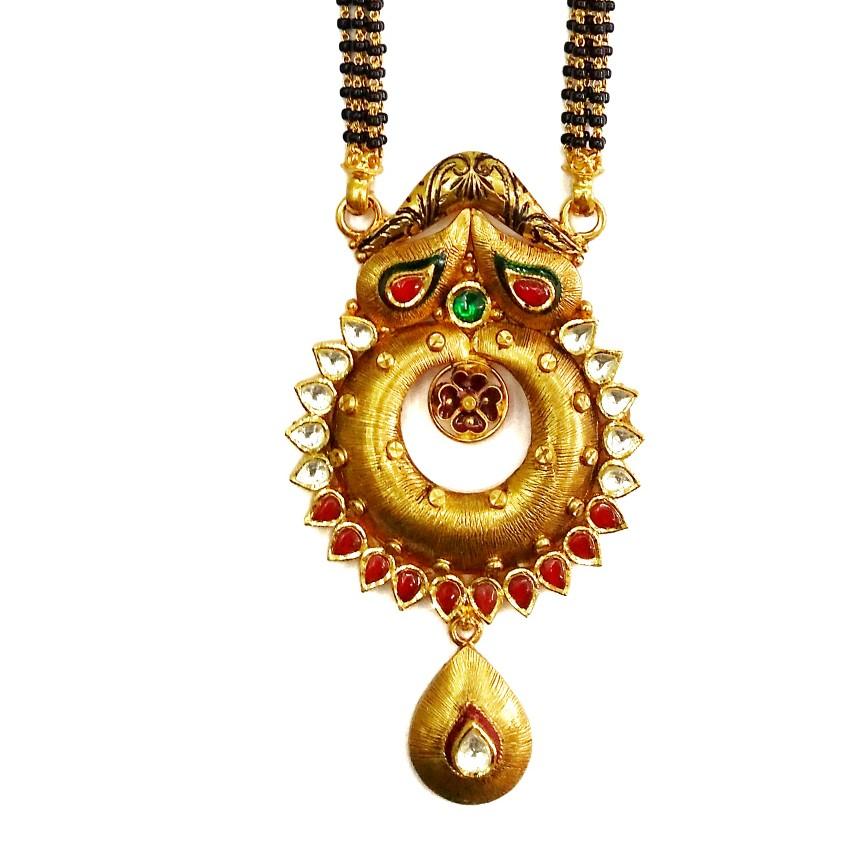 916 Gold Antique Round Shaped Oxidised Mangalsutra MGA - GM061