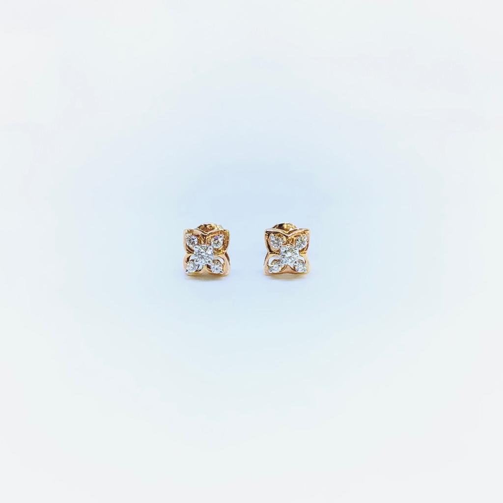 DESIGNING FANCY ROSE GOLD REAL DIAMOND EARRINGS