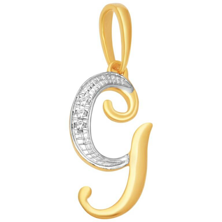 18k gold real diamond pendant mga - rp007